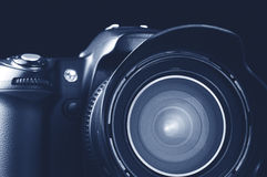 Camera. Monochrome closeup of camera on dark background royalty free stock image