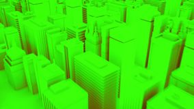 Camera moves through abstract green city. 3d animation stock illustration