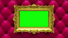 Camera moves along gold picture frames on luxury red upholstery background. Seamless looped 3d animation. Mockup with tv. Motion along gold picture frames on red stock video footage