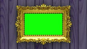 Camera moves along gold picture frames on purple wood background. Seamless looped 3d animation. Mockup with tv noise and. Motion along gold picture frames on stock video footage