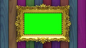Camera moves along gold picture frames on varicolored wood background. Seamless looped 3d animation. Mockup with tv. Motion along gold picture frames on stock footage