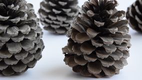 Camera moves along of pine cones on white background. Seasonal holiday background, concept stock footage