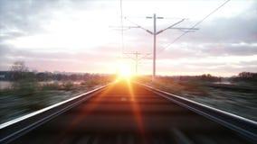 Camera moves along railway. Wonderful sunset. Realistic cinematic 4k animation. Camera moves along railway. Wonderful sunset. Realistic cinematic 4k animation stock video