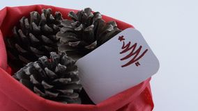 Camera moves along of three pine cones in red bag with seasonal greeting card. Seasonal holiday background concept stock video footage