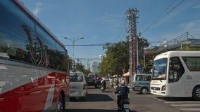 Camera Moves through City Traffic Jam in Vietnam stock video footage