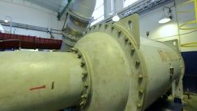 Camera Moves between Metal Constructions to Compressor. KAZAN, TATARSTAN/RUSSIA - JUNE 12 2016: Camera moves between blue metal constructions to powerful stock video