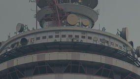 Camera Moves from Restaurant in KL TV Tower to antenna stock video footage