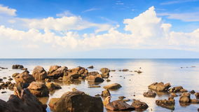 Camera Moves to Different Stones in Shallow Water. Camera approaches different stones in shallow water and tree at foreground against blue sky stock video footage