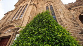 Camera Moves from Tree Upward Age-old Catholic Church. Camera moves from green tropical tree to upper part of age-old catholic church in Vietnam stock video footage