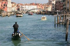 Camera moving above Grand canal in Venice. Near Rialto Bridge. Stock Photography