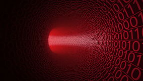 Camera moving through abstract red tunnel made with zeros and ones. Modern motion background. Computers, binary data. Flight through abstract red tunnel made stock video footage
