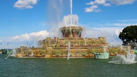 Camera Moving Down Buckingham Fountain Grant Park Chicago Illinois