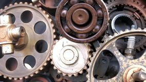 Camera moving through spinning gears and cogs. Camera moving through spinning gears and  cogs stock footage