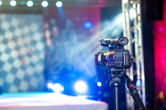 Camera near the podium Royalty Free Stock Photos