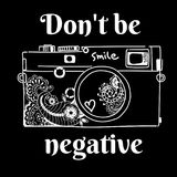 The camera-negative and ornaments. The camera negative and ornaments black and white picture Stock Photo