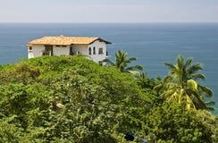 Camera nei tropici con la vista di oceano fotografia stock