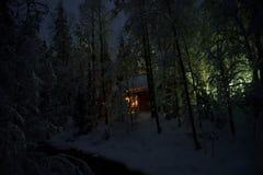 Camera nella foresta di inverno di notte immagine stock