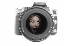 Camera noise. Camera and wide angle lens with a female reflected, concept camera noise stock image