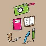 Camera note key pen pencil Stock Image