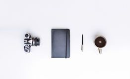 Camera, Notebook, Pen And Coffee Royalty Free Stock Image