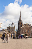 Camera obscura and Hub tower in The Royal Mile street Royalty Free Stock Photos