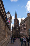Camera obscura and Hub tower in The Royal Mile street Stock Image