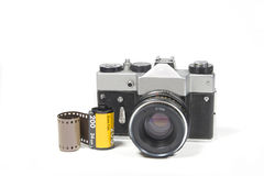 Camera old film 35mm. Old film camera on white background retro royalty free stock images
