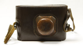 Camera in old, leather case Royalty Free Stock Photos