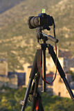 Camera On A Tripod Stock Photography
