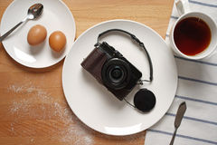 A camera out of the ordinary from a breakfast setting Stock Image