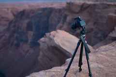 Camera overlooking Canyon at Horseshoe Bend AZ Stock Photos