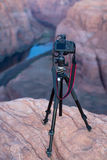 Camera overlooking Canyon at Horseshoe Bend AZ Royalty Free Stock Image