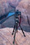 Camera overlooking Canyon at Horseshoe Bend AZ Royalty Free Stock Image