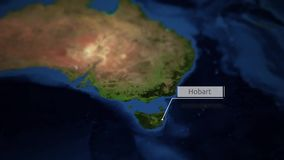 Camera pans over map of Australia with indicator - Hobart vector illustration