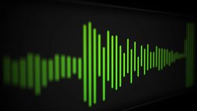 Camera pans over modern cool sleek audio spectrum or waveform of a song - Green Version.  stock video footage