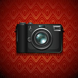 Camera on pattern design Royalty Free Stock Photography