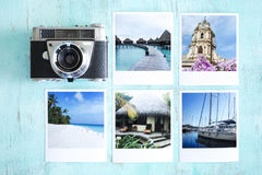 Camera and photo cards. On vintage blue background royalty free stock photography