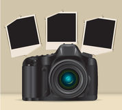 Camera and photo frames Stock Image