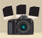 Camera and photo frames Stock Image