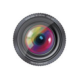 Camera photo lens, . Realistic illustration of a camera photo lens Stock Photo