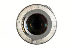 Camera photo lens close-up on white background with lense reflec Royalty Free Stock Photography