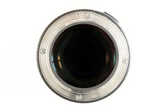 Camera photo lens close-up on white background with lense reflec Royalty Free Stock Photos