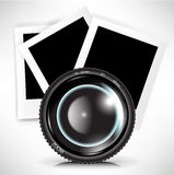 Camera photo lens with photograph Stock Photos