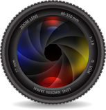 Camera photo lens with shutter. Vector illustration of camera photo lens with shutter Stock Image