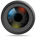 Camera photo lens with shutter Royalty Free Stock Photo