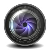 Camera Photo Lens With Shutter. Royalty Free Stock Photo
