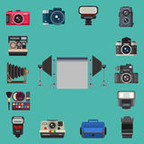 Camera photo optic lenses set different types objective retro photography equipment professional look vector Stock Images