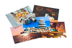 Camera and photo printouts (my photos) Stock Photography