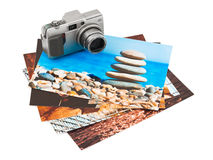 Camera and photo printouts (my photos) Royalty Free Stock Photo