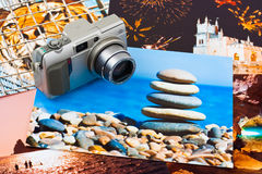Camera and photo printouts (my photos) Stock Photo
